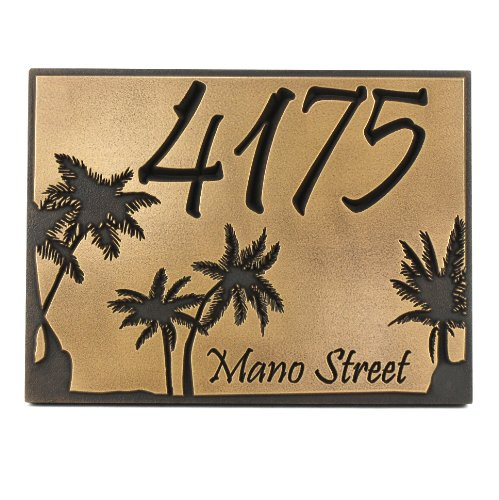 Plaque Palm - Palm Tree Custom Plaque 12x9 - Recessed Brass Coated