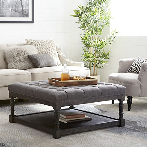 Tufted Ottoman Coffee Table Centerpiece Suitable for Living Rooms. Large Storage Bench Provides Comfort and Functionality. Grey Linen Fabric and Rustic Dark Oak Hardwood Create Modern Farmhouse Feel. (Oak Living Room Bench)