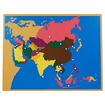 Amazon.com: Montessori Asia Puzzle Map with Labeled and Unlabeled ...