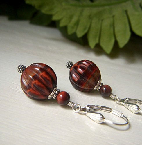 Red Tiger's Eye Earrings, Sterling Silver Leverback, Carved Melon Shape