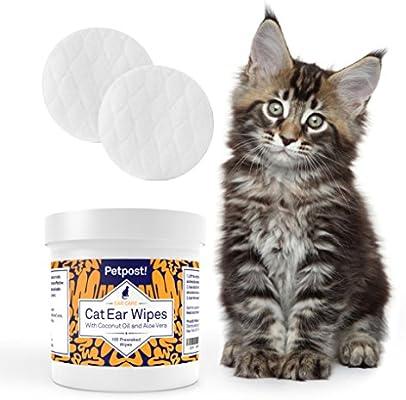 Petpost | Toallitas Limpiadoras de Oído para Gatos – 100 Almohadillas de Algodón Ultra Suave en Solución de Aceite de Coco – Tratamiento para ...