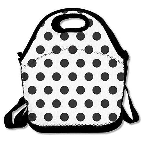 Most Fashion Maker Black Polka Dot Pattern 260 Lunch Bags Insulated Travel Picnic Lunchbox Tote Handbag Shoulder Strap Women Teens Girls Kids - Polka Dot Handbag Quilted