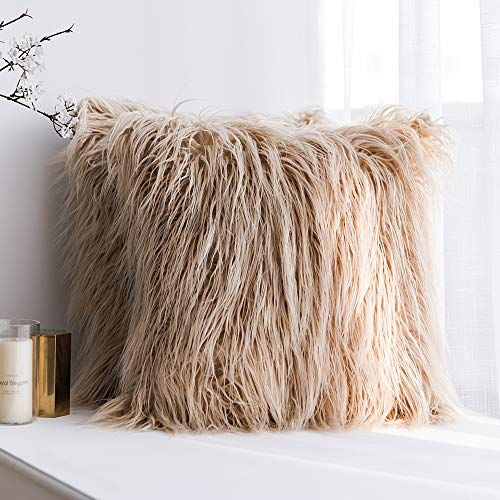 MIULEE Pack of 2 Decorative New Luxury Series Style Brown Faux Fur Throw Pillow Case Cushion Cover for Sofa Bedroom Car 20 x 20 Inch 50 x 50 cm