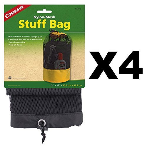 Coghlan's Mesh Stuff Bag w/Water Repellent Base & Drawstring 12''x22'' (4-Pack) by Coghlan's