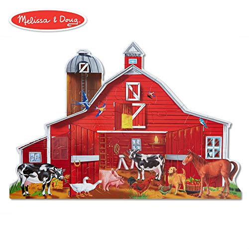 - Melissa & Doug Farm Friends Floor Puzzle (Easy-Clean Surface, Promotes Hand-Eye Coordination, 32 Pieces, 24