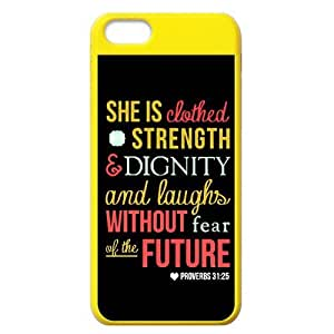 Apple iphone 5s Case Cover Bible quote She is strength Dignity and laughs without fear of the future proverbs 31:33