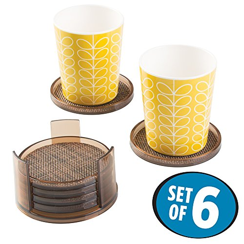mDesign Textured Decorative Coasters Holders