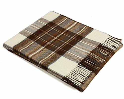 (Tartan - Merino Lambswool - Natural Dress Stewart - Throw Blanket)