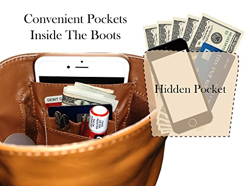 Pocket Boots Knee Wide Slouchy High OF Soft RF Pu Women's Tan Vegan Hidden Calf FASHION ROOM Pvqxp0w1