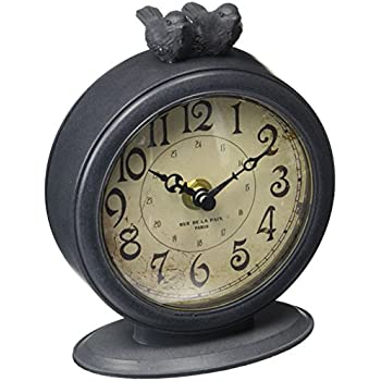 NIKKY HOME Shabby Chic Pewter Round Quartz Table Clock with 2 Birds, 4.75