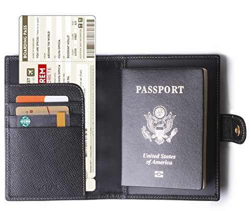 Borgasets Leather Rfid Blocking Travel Passport Holder Cover Slim ID Card Case Wallet Black