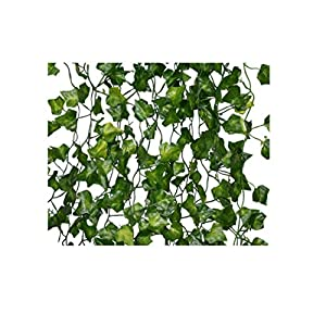 "Fake Ivy Vines, 72 FT, 12 pcs x 6ft Artificial Ivy Vines +100pcs of 6"" Zip Ties +84pcs of White Flowers Wire Ties - Fake Greenery Vines – Greenery Garland Wedding Decoration Party Home Decor Hanging 30"