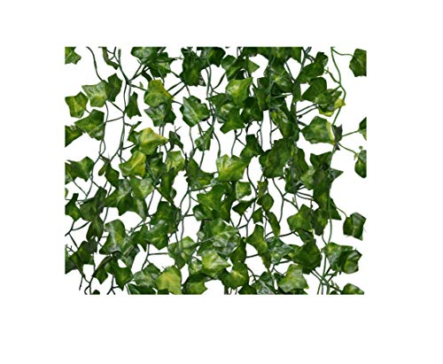 "Fake Ivy Vines 24 pcs x 7ft artificial ivy vines +200 pcs of 6"" zip ties +168 pcs of white flowers wire ties - fake greenery vines - Greenery Garland Wedding Decoration Party Home Decor Hanging Plants -"