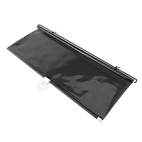 Cuque Car Sun Shade Universal Auto Window Sunshade Retractable with Three Suction Cups Automobile Windshield Steering Wheel Shade with Good Heat Isolation Efficiency Blocks Sun Keeps Car Cool 125x58cm