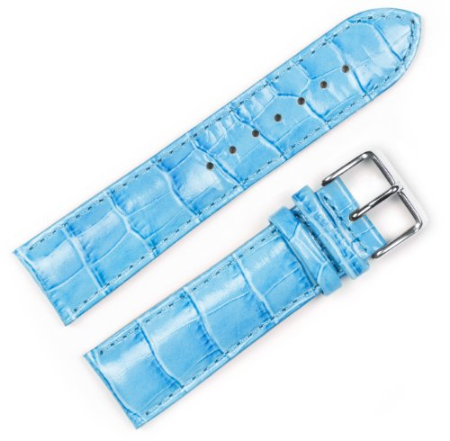 - Crocodile Grain Watchband (Chrono) Light Blue 14mm Watch Band - by deBeer