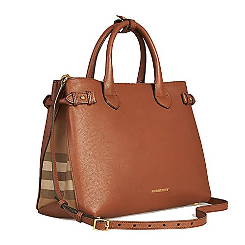 Tote Bag Handbag Authentic Burberry Medium Banner in Leather and House Check TAN Item 39807941 - Burberry Leather Handbag