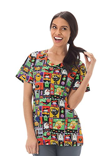 Bio Women's Overlap V-Neck Halloween Print Scrub Top XXXX-Large Print (Halloween Scrubs)