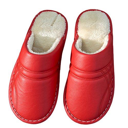 Ciabatta Fodera In Pelliccia Caldo Antiscivolo Comode Pantofole Per Casa Interne Impermeabili Rosse