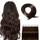40 Pieces Rooted Tape in Hair Extensions Human Hair Seamless Skin Weft 100% Real Remy Invisible Tape Hair Extensions Straight Double Sided 22 inches #02 Dark Brown 100g