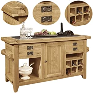 Panama Solid Rustic Oak Furniture Large Kitchen Island