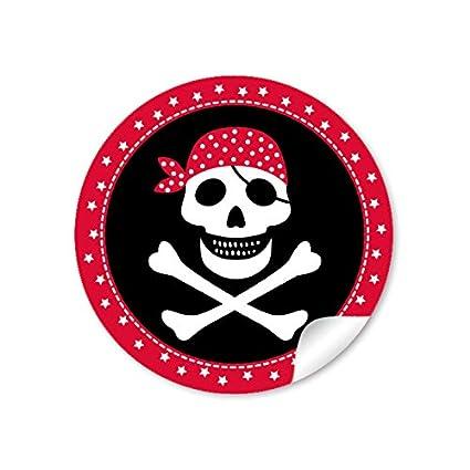 24 pegatinas: 24 Regalo decorativo para pirata con calavera ...