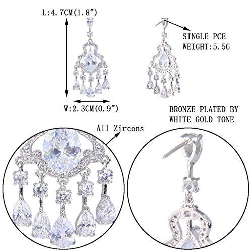 EVER FAITH® Plaqué Argent Cubic Zirconia Mariage 5 Goutte Boucle d'Oreilles Pendant Clair N07021-1