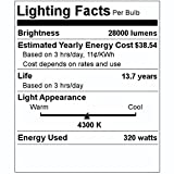Sylvania 64049 - MS320/PS/BU-HOR/ED28 320-Watt ED28 Mogul Screw (E39) 4300K Clear High Output Pulse Start Metal Halide Lamp