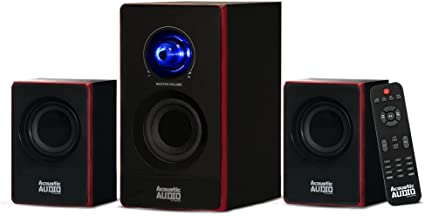 Amazon Com Acoustic Audio By Goldwood 2 1 Bluetooth Speaker System 2 1 Channel Home Theater Speaker System Black Aa2103 Home Audio Theater