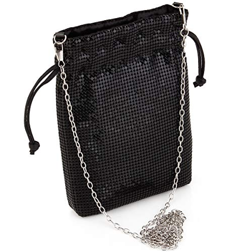 Women's Evening Clutch Bag Party Prom Wedding Purse Metal mesh Small Shoulder Bag Cell Phone Purse Wallet In Black ()
