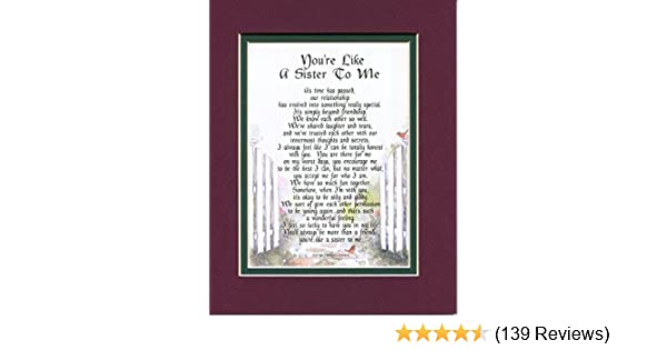 Amazoncom 150 Youre Like A Sister To Me A Present Gift Poem For