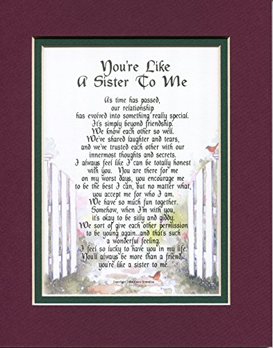 #150 You#039re Like A Sister To Me A Present Gift Poem for A Best Friend More Color Options