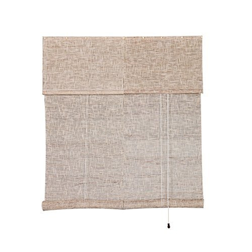 (Liveinu Handmade 100% Ramie Linen Window Blinds Roller Shades Roman Curtain Drape Natural Color 2 14