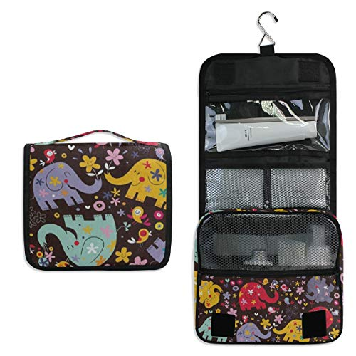 Hanging Toiletry Bag Elephant Bird Flower Floral Print Waterproof Wash Bag Makeup Organizer for Bathroom Men Women