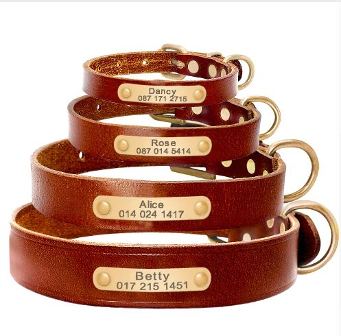 ChicChillShop Personalized Dog ID Collar Genuine Leather Small Medium Dogs Cat Collar Custom Pet Name and Phone Number Free Engraving (Brown, L) (Leather Genuine Shaft)
