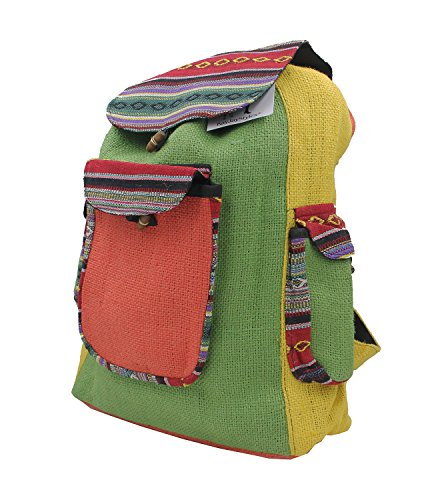 Price comparison product image KayJayStyles Natural Handmade Multi Pocket Nepal Recycled Jute Rice Backpack (BPJR3)