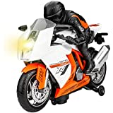 GP TOYS Kids Electric Toy Motorcycle Toddler Bump and Go Car with Flashing Lights and Music