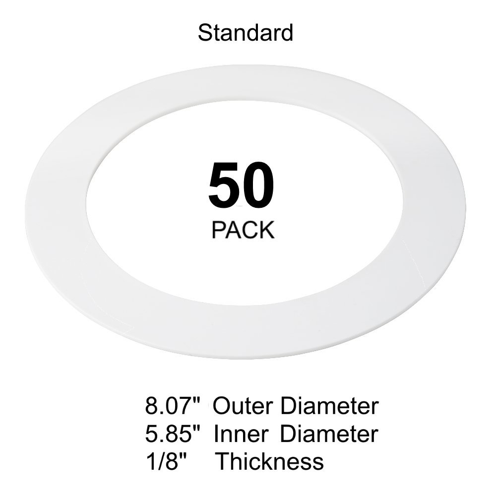 50 Pack White Goof Ring Trim Ring for Recessed Can and 6'' Inch Down Light Ove...