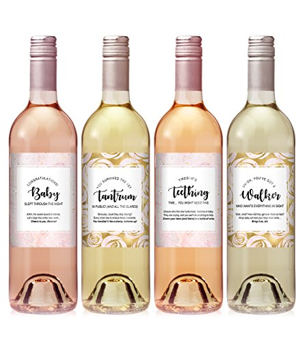 Pink New Mommy Wine Label Set - set of 4 - Exactly like ()