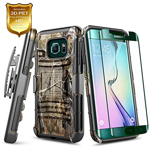 Galaxy S6 Edge Plus Case w/[Full Coverage Screen Protector Premium HD], NageBee Belt Clip Holster Heavy Duty Armor Shockproof Kickstand Rugged Combo Case for Samsung Galaxy S6 Edge Plus -Camo