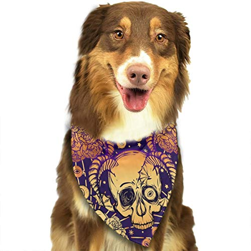 Peony Flowers, Eyes, Horns, Skull and Mysticism Customized Dog Headscarf Bright Coloured Scarfs Cute Triangle Bibs Accessories for Pet Dogs