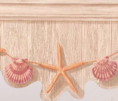 Orange Starfish Purple Seashell Hanging on Tan Grey Wall Nautical Wallpaper Border Retro Design, Roll 15' x 9.5''