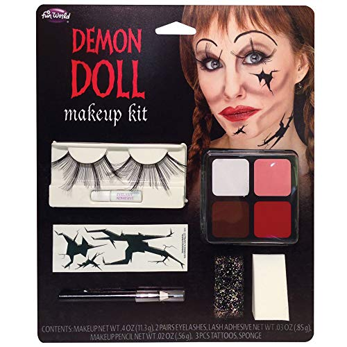 Fun World Unisex-Adult's Demon Doll Makeup Kit, Multi, Standard (Multi Makeup Kit)