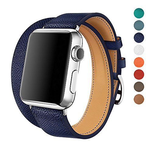 Stainless Steel Blue Leather (Apple Watch Band 38/42mm Leather Double Tour iwatch Strap Replacement Band with Stainless steel Adpter Clasp for Iphone Watch Series 3 Series 2 Series 1,Sport Edition ,Men Women (Deep Blue, 38mm))