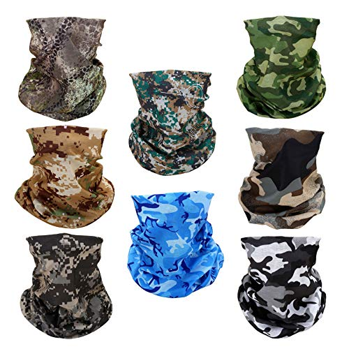 8 Camo Multifunctional Elastic Seamless Headwear Bandana Headband Half Face Mask Scarf Neck UV Sun Protection Windproof Dustproof For Women Men Motorcycle Bike Airsoft Paintball Hunting Hiking Fishing