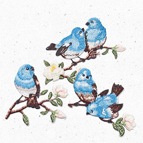 ZOOPOLR 3 Pcs Cute Birds Delicate Embroidered Patches, Embroidery Patches, Iron On Patches, Sew On Applique Patch,Cool Patches for Men, Women, Boys, Girls, - Embroidery Silk Bird