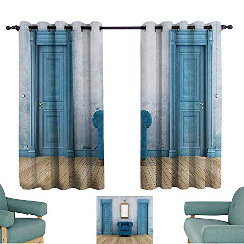 - DILITECK Customized Curtains Blue Antique Empty Room with Two Doors Armchair and Simple Mirror with Golden Color Frame Blackout Draperies for Bedroom Window W84 xL72 Turquoise Blue Ivory