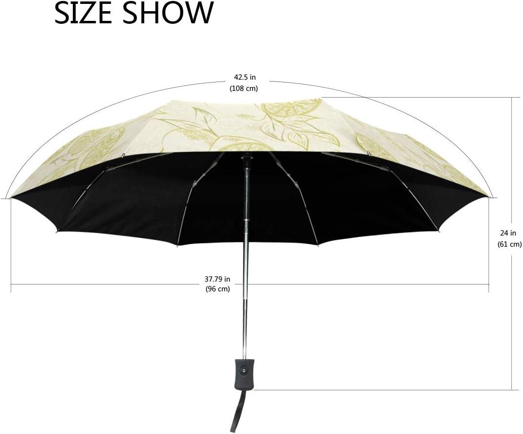 Art Sand Painting Lemon fashion print cute Windproof automatic tri-fold umbrella sun UV protection Sun umbrella