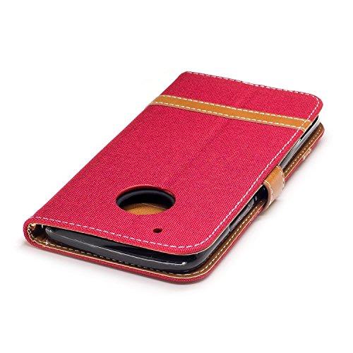Para Motorola Moto G5 Plus funda, (Vaquero negro) Dril de algodón de colores mezclados caja del teléfono móvil de cuero PU Leather cubierta Función de Soporte Billetera con Tapa para Tarjetas correa d Vaquero rojo