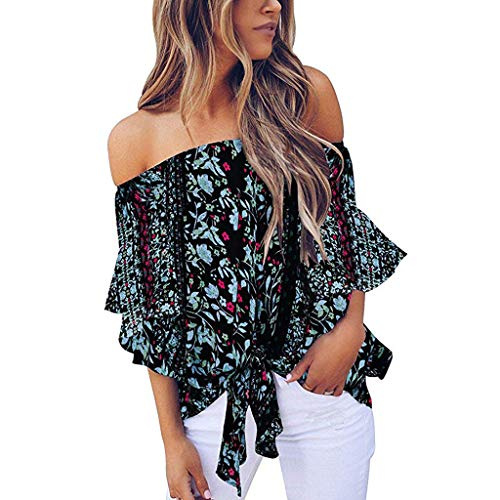 Women Cold Shoulder Blouse Floral Knot Tie Front Chiffon Shirt Flare Sleeve ()