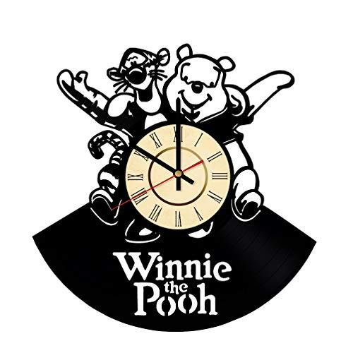 Winnie Pooh And Tiger Vinyl Clock Gift for Disney Fans The House at Pooh Corner Wall Decor Teddy Bear Art Cartoon Living Room Artwork